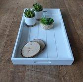 Butler tray wit - Afmetingen: 30 x 49 x 61,5 cm (LxBxH) - Houten butler tray - Bijzet tafeltje - Decoratief tafeltje - Decoratief dienblad - Dienblad voor op bed - Dienblad voor in de woonkamer - Handig dienblad - Mooi bijzet tafeltje