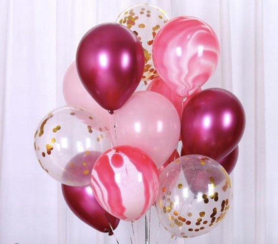 Luxe Geboorte Ballonnen Meisje Paars - Rose en Gemeleerd Confetti  Goud | Glossy | 12 stuks | Baby Shower - Kraamfeest - Verjaardag - Fotoshoot - Wedding - Marriage - Birthday - Party - Feest - Huwelijk - Jubileum - Decoratie | Traktatie - Versiering
