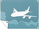 Een illustratie van een vliegtuig in de lucht tuinposter 160x120 cm - Tuindoek / Buitencanvas / Schilderijen voor buiten (tuin decoratie) XXL / Groot formaat!