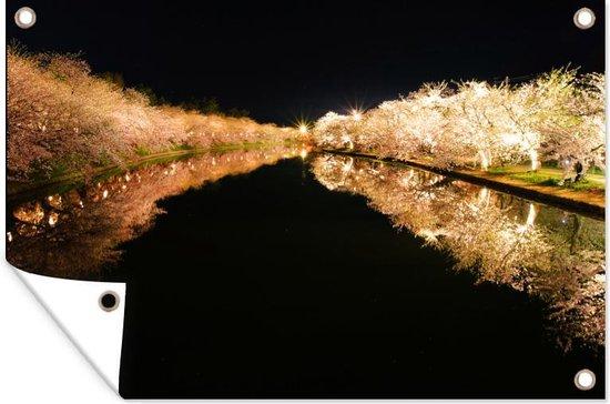 Verlichte kersenbomen langs het water tuinposter 90x60 cm - Tuindoek / Buitencanvas / Schilderijen voor buiten (tuin decoratie)