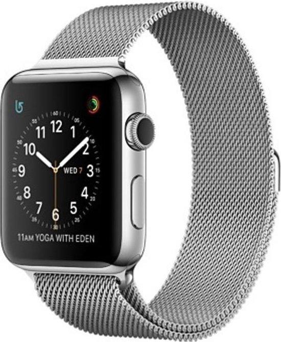 Milanees bandje geschikt voor Apple Watch 42-44mm RVS - Zilver