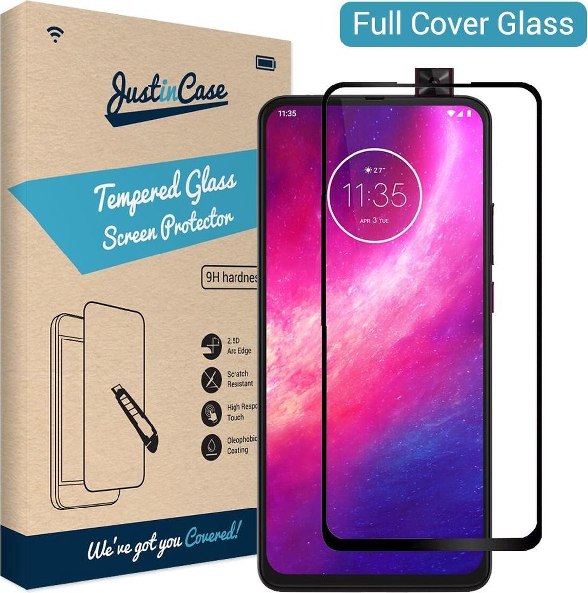Afbeelding van product Just in Case Full Cover Tempered Glass Motorola One Hyper Protector - Black