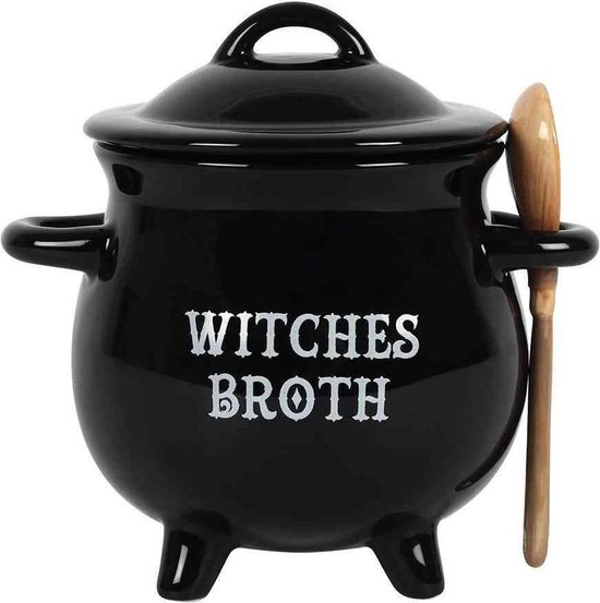 Attitude Holland Soepkom Witches Broth Cauldron with Broom spoon Zwart