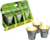 Citronella kaarsjes set van 3x stuks in emmertjes - Anti insecten en muggen kaarsen - geurkaarsen