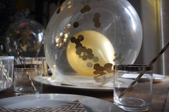 Confetti Ballonnen Set 10 Stuks (31 cm) | Gouden confetti | Baby Shower Verjaardag Bruiloft Feestje