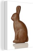 Paashaas van chocola Canvas 30x40 cm - klein - Foto print op Canvas schilderij (Wanddecoratie woonkamer / slaapkamer)