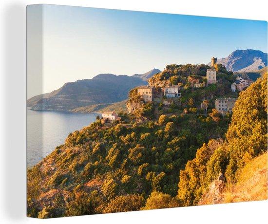 Dorp in Corsica bij zonsondergang Canvas 30x20 cm - klein - Foto print op Canvas schilderij (Wanddecoratie woonkamer / slaapkamer)