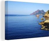 Ruige kust in het Europese Corsica Canvas 140x90 cm - Foto print op Canvas schilderij (Wanddecoratie woonkamer / slaapkamer)
