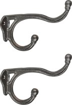 3x Wandhaken/kapstokhaken industrieel zwart  - 11 x 17 cm - gietijzer - Kapstok ophanghaken - Dubbele haken - Bevestigingsmateriaal