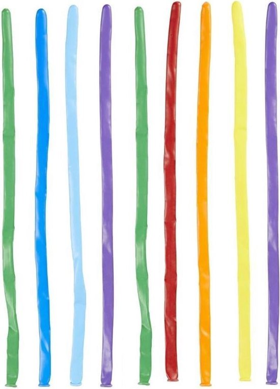 100 Modelleer Ballonnen - Assorti kleuren - 130cm - Rood / Geel / Blauw / Paars / Wit / Groen