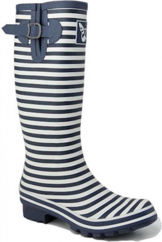 Donkerblauw wit gestreepte laarzen Bristol van
