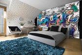 Fotobehang Vlies   Graffiti   Grijs, Blauw   368x254cm (bxh)