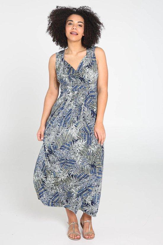 Paprika Lange jurk in tricot met bladprint
