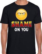 Funny emoticon t-shirt Shame on you zwart heren L
