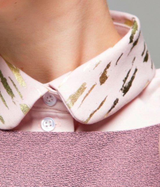 Los, zachtroze rond kraagje voor dames met bronzen print #M #Belgisch - Lilirooz.com