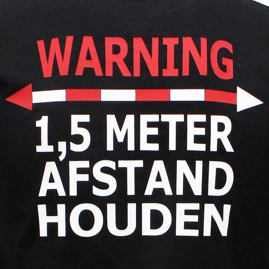 Fruit of the Loom WARNING 15 Meter Afstand Houden T-Shirt Twee kanten Bedrukt Zwart...