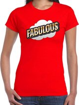 Fout Fabulous t-shirt in 3D effect rood voor dames - fout fun tekst shirt / outfit - popart M