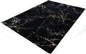 Vloerkleed - Zwart Marmer Look - 23438-975 - Zwart-Goud - 80x150 cm