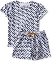 Little Label - 2-delige zomerpyjama - blauw, hartjes - maat 92 - bio-katoen