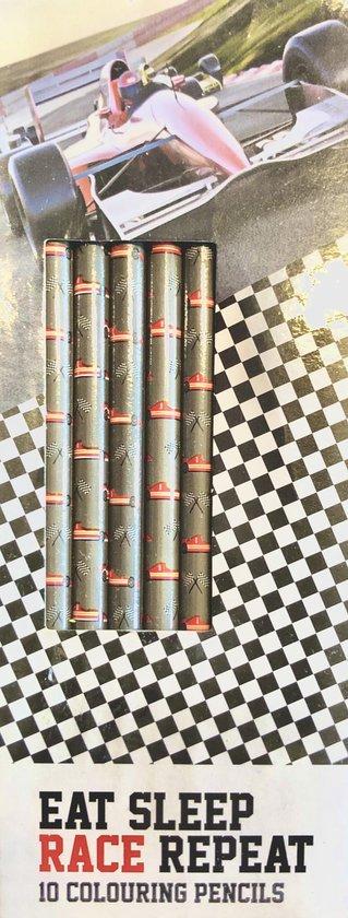 Eat Sleep Race Repeat - Teken Kleur potloden set - 10 STUKS - Race Auto's Stoer Jongens - Kinderen Knutsel speelgoed