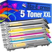 Tito-Exrpess PlatinumSerie 5x Brother TN-241 TN-245 XL toner alternatief voor Brother TN 241 TN 245 black cyaan magenta geel