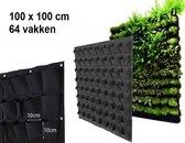 Verticale tuin met 64 vakken - 100cm x 100cm - verticale tuin - zwart - groene wand - groene muur - verticale moestuin zakken - plantenhanger balkon - plantenbak - plantenzak 1x1 meter, zwart , merk B