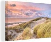 Canvas Schilderijen - Strand - Zee - Duin - Zonsondergang - 120x80 cm - Wanddecoratie