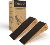 Dieux® - Luxe Deurstopper Set van acaciahout - 2 stuks -  Deurdranger voor binnen met antislip - Deurvastzetter binnendeur - Deurwig van hout ophangbaar