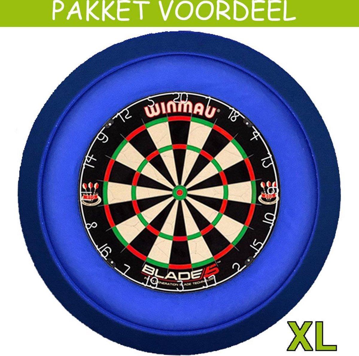 Dartbord met Verlichting Voordeelpakket (Blauw) + Blade 5 + Lena DeLuxe XL