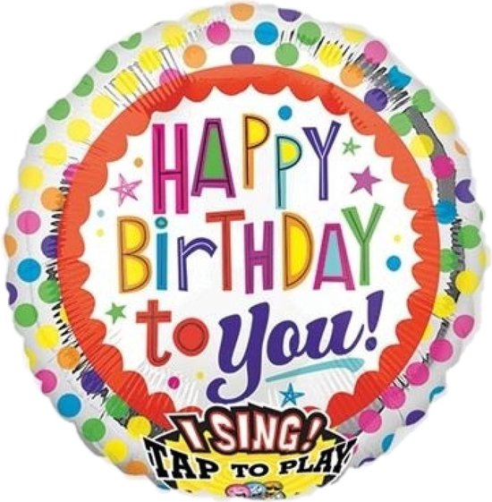 Folieballon - Happy birthday - Dots - Met muziek - 71cm - Zonder vulling