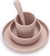 Jollein Dinerset siliconen - Kinderserviesset 4-delig - Pale Pink