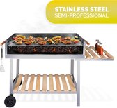Houtskool Barbecue Trolley - Grilloppervlak (LxB) 98 x 56 cm - Extra Werkplek - RVS