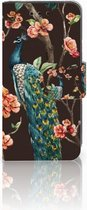 Samsung Galaxy S4 Mini i9190 Wallet Book Case Hoesje Design Pauw met Bloemen