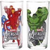 Marvel Avengers Drinkglazen set van 2 glazen 250 ML The Hulk, Captain America en Iron Man – 13x6cm | Kinderbekers | Glas om uit te Drinken