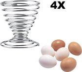 RVS Eierdopjes Set - 4 Stuks Eierdop - Eihouder Eidopjes - Egg Cup