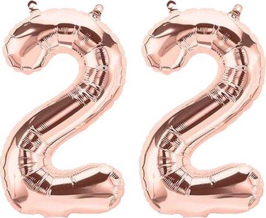 Cijfer 22 Rose Gold Helium 86 cm Excl. Helium