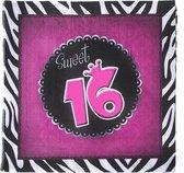 20x Servetten Sweet16 33 x 33 cm - verjaardag tafeldecoratie servetjes - Verjaardag thema papieren tafeldecoraties