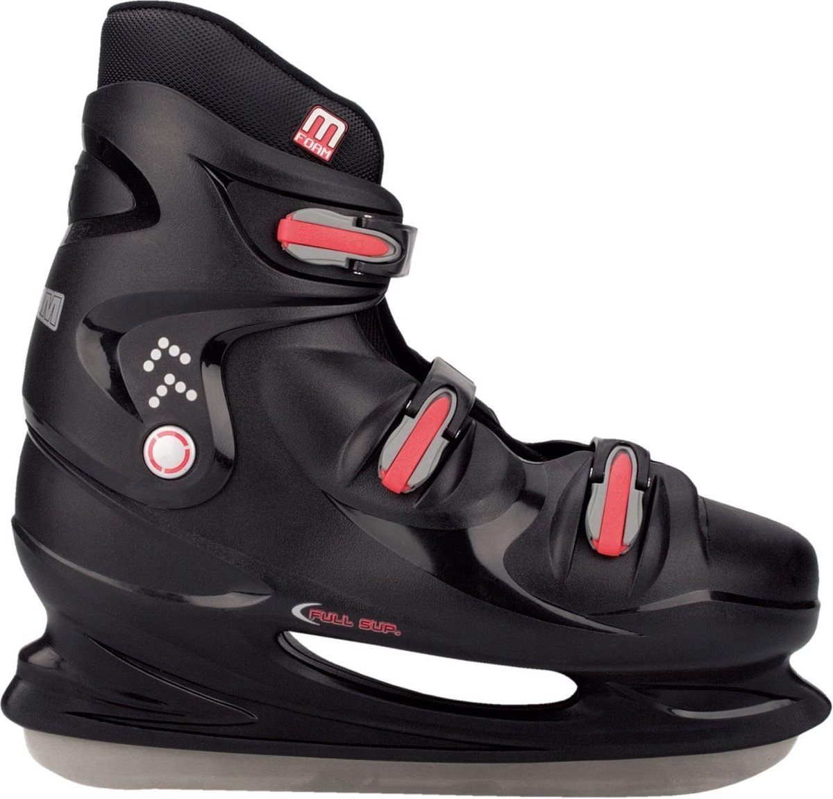 Nijdam IJshockeyschaats XXL - Hardboot - Zwart/Zilver/Rood - 50