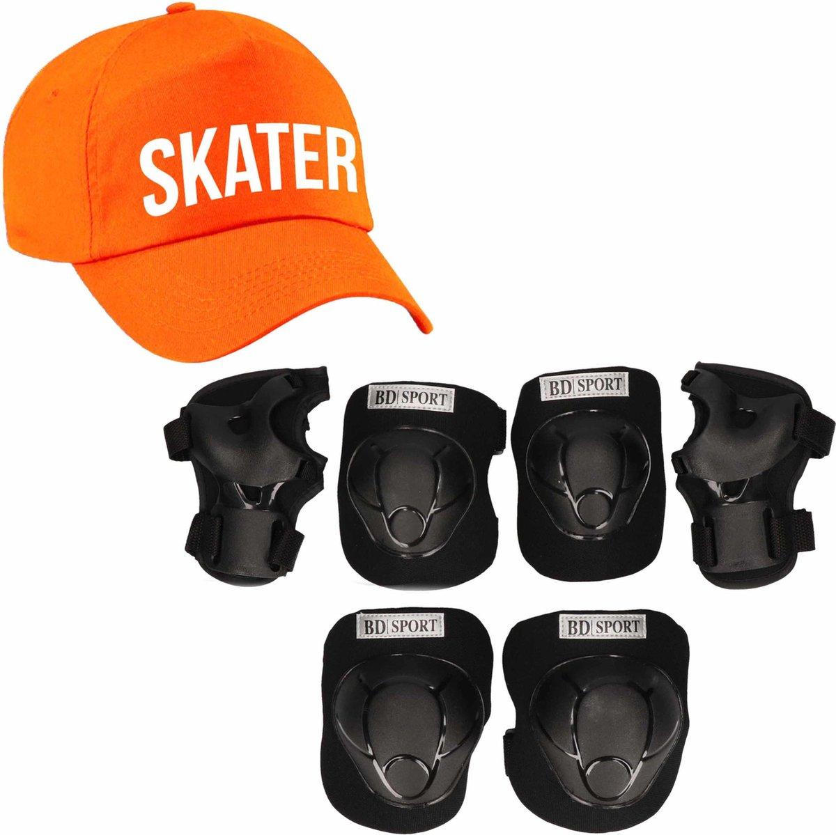 Set van valbescherming voor kinderen maat M / 6 tot 8 jaar met een stoere SKATER pet oranje