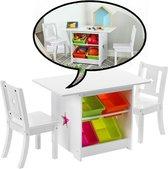 Decopatent® Kindertafel met stoeltjes van hout - 1 kindertafel en 2 stoelen voor kinderen - Zitgroep met veel opbergruimte (Set)