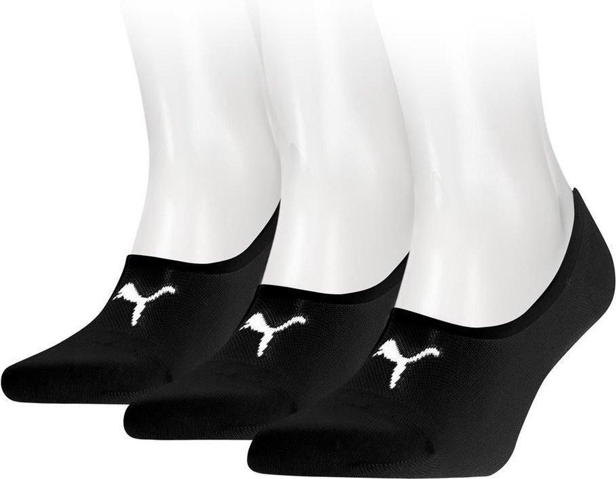 PUMA Footie Sokken - 3 pack - Zwart - Maat 39-42