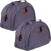 Set van 2x stuks kleine koeltassen voor lunch grijs 32 x 12 x 21 cm 8 liter - Koeltassen