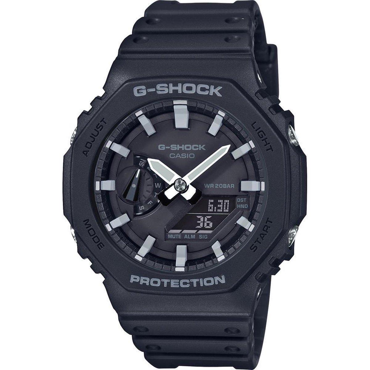 Casio G-Shock GA-2100-1AER Horloge - Kunststof - Zwart -   45 mm