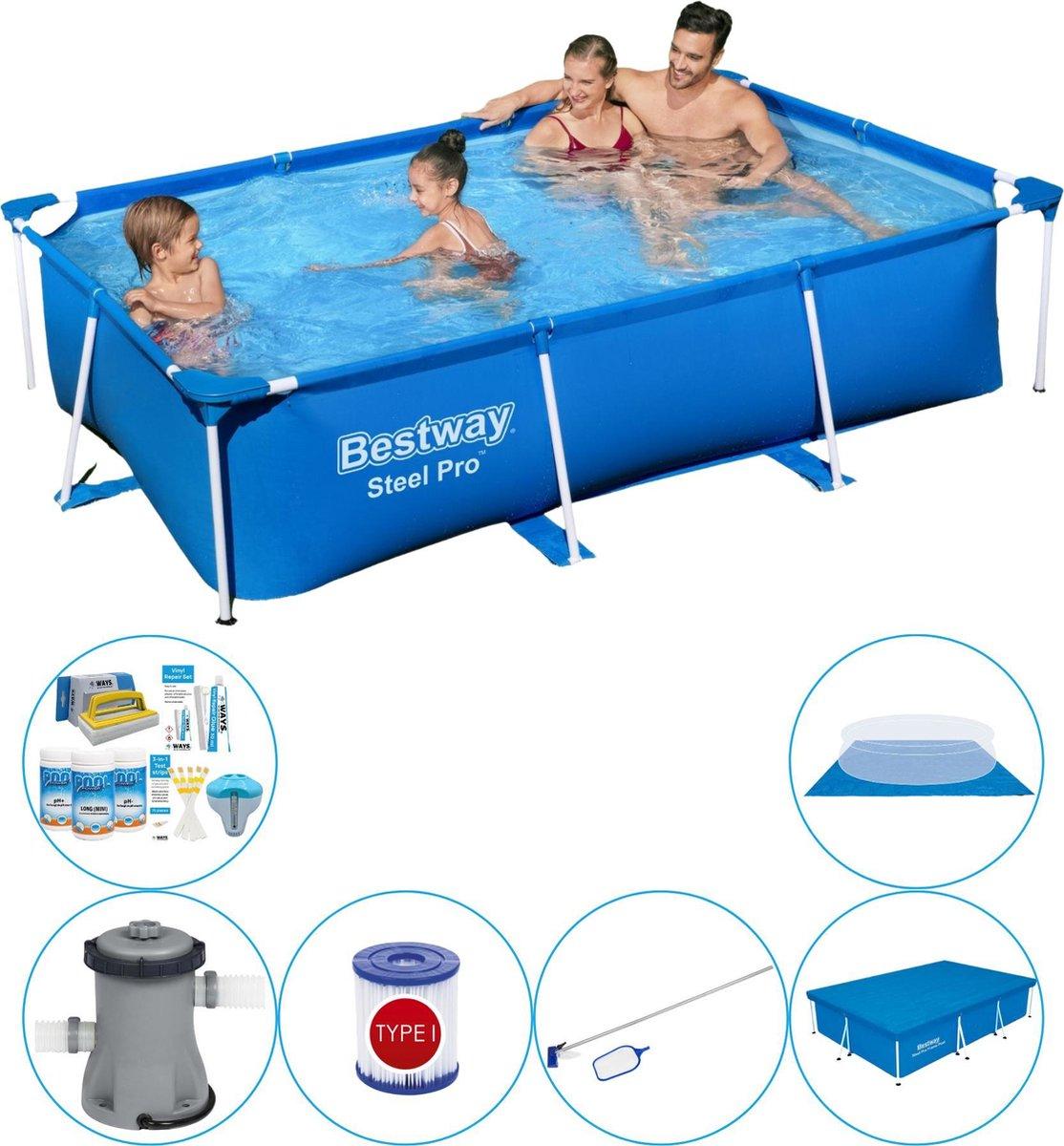 Bestway Steel Pro Rechthoekig Zwembad - 259 x 170 x 61 cm - Blauw - Inclusief Accessoires