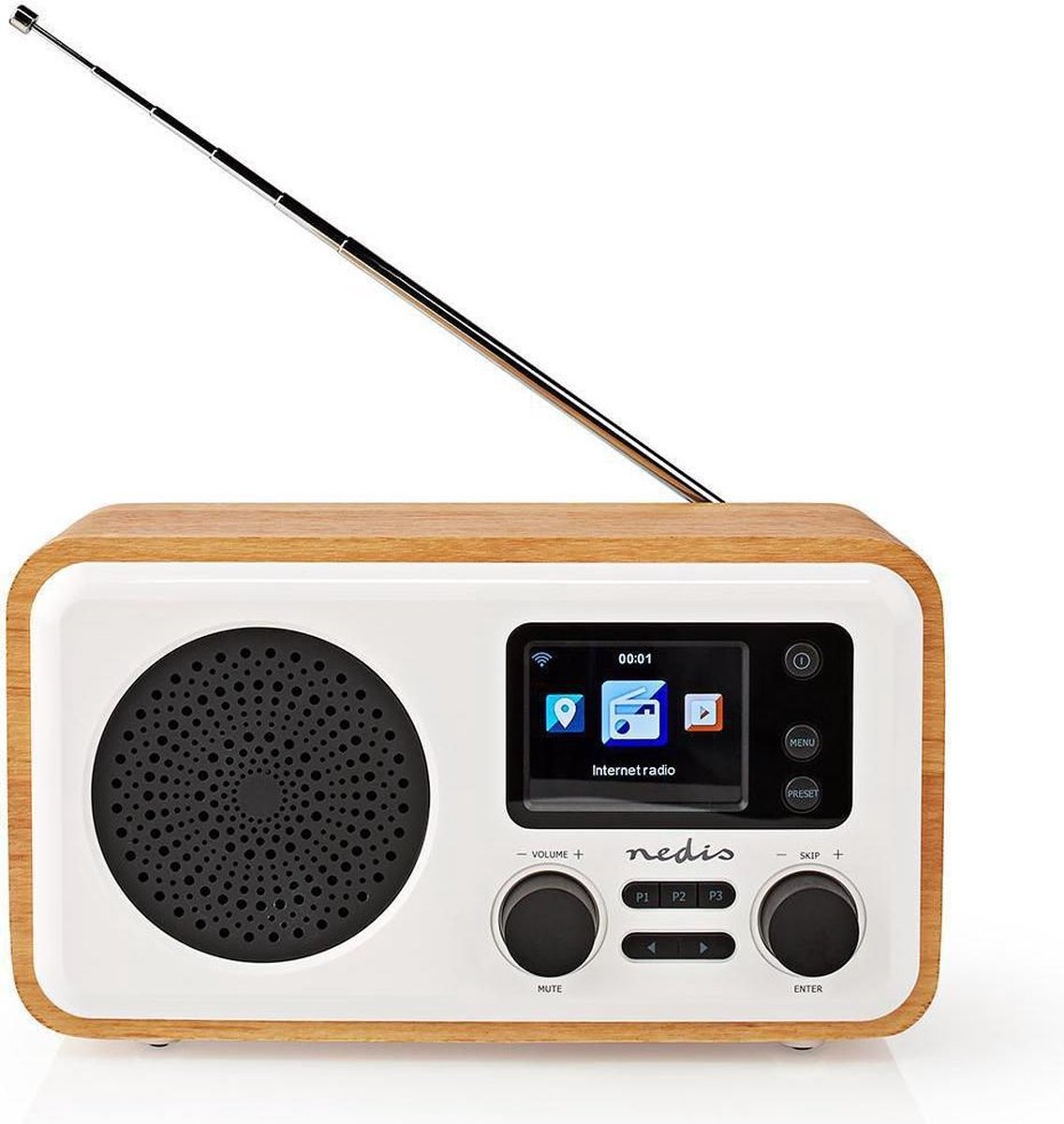 "Internetradio   Tafelmodel   Bluetooth® / Wi-Fi   DAB+ / FM / Internet   2.4 ""   Kleurenscherm   7 W   Afstandbestuurbaar   App-gestuurd   Wekker   Wit/Hout"