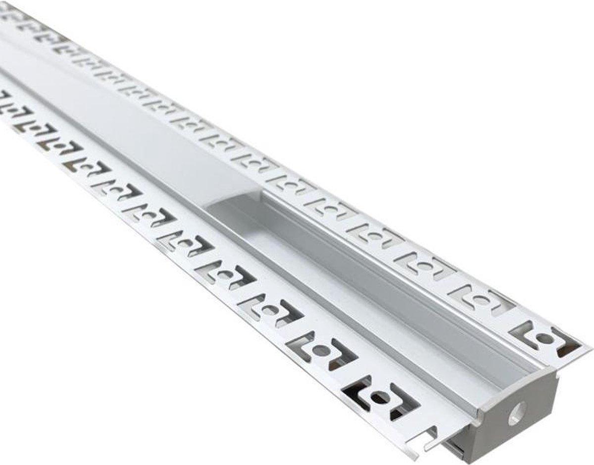 Verzonken aluminium profiel 1m voor LED-strip dubbele ondoorzichtige witte kap