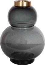 PTMD Odette Vaas - H18,5 cm x Ø14 cm - Glas - Zwart/koper