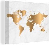 Canvas Schilderijen - Wereldkaart - Marmer - Goud - 40x30 cm - Wanddecoratie