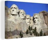 Felblauwe hemel terwijl de zon schijnt op de Mount Rushmore Canvas 180x120 cm - Foto print op Canvas schilderij (Wanddecoratie woonkamer / slaapkamer) XXL / Groot formaat!
