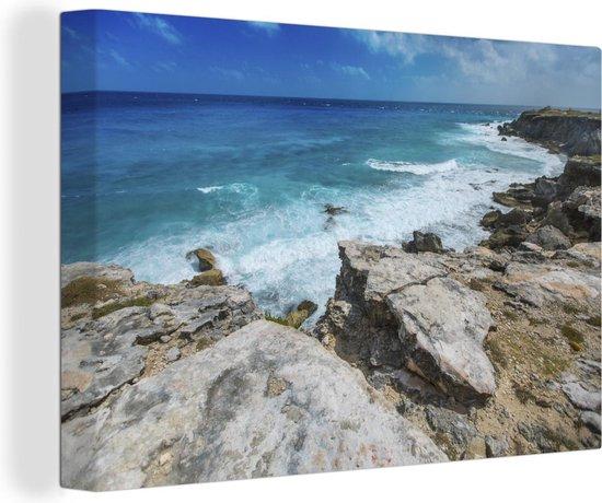 Kustlijn van het Noord-Amerikaanse Isla Mujeres met heldere zee Canvas 140x90 cm - Foto print op Canvas schilderij (Wanddecoratie woonkamer / slaapkamer)